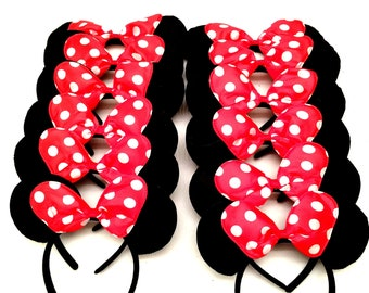 Minnie Mouse Ears Red Polka Dot Bow - Bow Mickey Mouse Ears Disney Ears Polka Dot Minnie Mouse Headband Mickey Ears Minnie Ears
