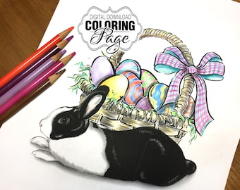 Coloring Page, Easter Basket of Eggs with Bunny Rabbit Art, Animal Art Digital Download Jpg File, A4 (EasterBasketBunny)