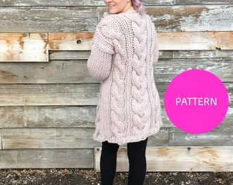 Pattern/ Knitatude Cable Crush Coat pattern, cable crush cardi, cable crush cardigan, knit cardigan pattern, knitting pattern, cardigan