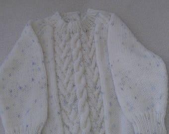 babies jumper,cabled jumper,babies high neck,babies hand knit