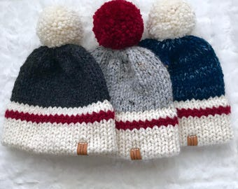 Double Brimmed Sock Hat woth Pom Pom // Extra Warm Winter Hat