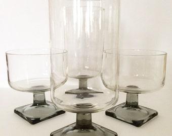 Vintage Glassware, Federal Nordic Midnight Stemmed Glasses, Set of 8