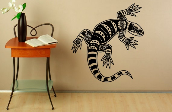 & Tribal Lizard Wall Decal Decals Vinyl Stickers Reptile