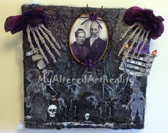 Gothic Ghosts Altered Art Canvas 12 x 12 3D Mixed Media