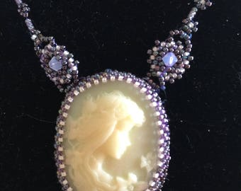 On sale now - 30% Hand beaded cameo necklace