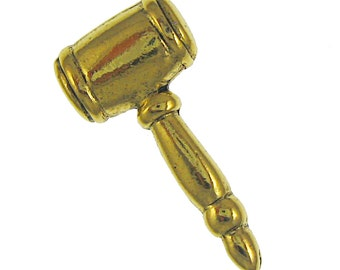 Gold Gavel Lapel Pin-CC553G-Law, Courts of Law, Succession, Mallet, and Judiciary Pins and Gifts, Judge Pins