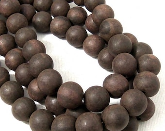 Unfinished Ebony Wood Bead, 12mm, Dark Brown to Near Black, Round, Large, Natural Wood Bead, 16 Inch Strand - ID 2358