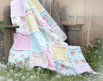 """Rag Quilt, Made to Order, Baby Quilt, Shabby Chic, 36"""" x 36"""" Quilt, Baby Shower Gift, Roses, Pastels, Teal, Pink, Yellow,"""