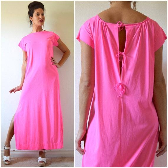 Vintage 60s 70s Neon Pink Nylon Nightgown (size small, medium)