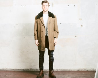Mens Vintage 70s Coat with Faux Fur Collar . 1970s Slim Fit Brown Insulated Overcoat Long Jacket Belted Pea Coat . sz Medium M