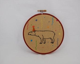 Tapir Party Animal Embroidered Hoop Art