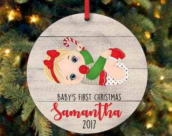 Baby's Girl First Christmas Ornament, Personalized Christmas Ornament, Custom Ornament, Blonde Baby Girl Christmas Ornament (0086)