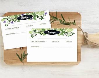 Recipe Cards, Editable, PRINTABLE, Garden Herbs Design, Instant Download