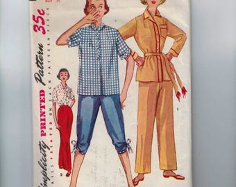 1950s Vintage Sewing Pattern Simplicity 4473 Misses Two Piece Pajamas Size 18 Bust 36  50s