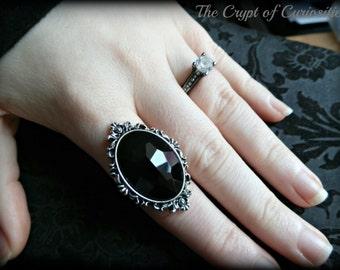 Elegant Gothic filigree cameo ring.