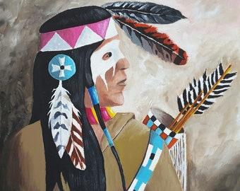 "Original Acrylic Painting, Warrior Pride, 8x8"" birch panel, Native American Art, Southwest decor, wall decor, wall art male painting"