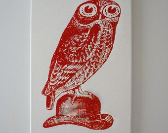 Owl on Bowler Hat silk screened canvas wall hanging 18x12 RED