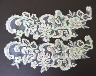 Vintage Pair of White Shiffli Lace - Pearled and Iridescent Sequined - Recycled
