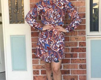 1970s floral patterened shirt dress