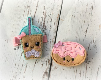 Ice Coffee Hair clip and Donut hair clip Sweet Clips Set of two hair clips
