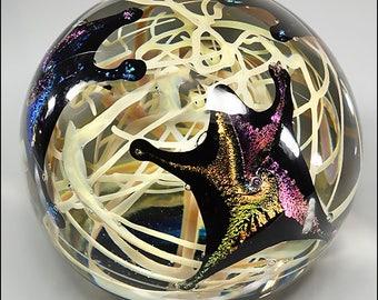 Rollin Karg Studio Art Glass Dichroic Starfish Magnum Paperweight Sculpture