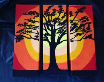 3-Piece Tree of Life Canvas Painting with Reds, Oranges, White and Yellow
