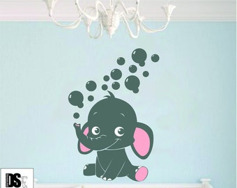 Elephant and bubbles nursery decal