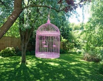 Birdcage with 3 tealight holders. Decorative interior design piece.