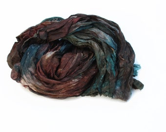 brown silk scarf - Fall Force -  chestnut, brown, teal, green, grey  silk scarf.