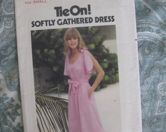 Butterick Size Small Misses' Tie On Softly Gathered Dress Pattern 5365