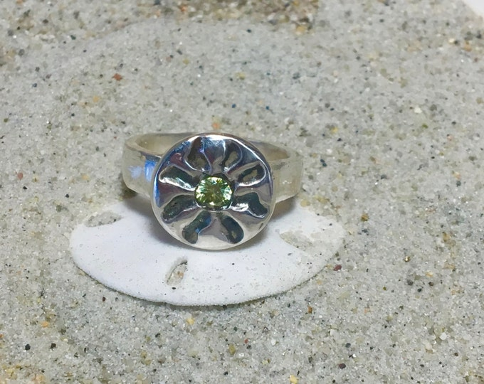 Customize a Fine Silver Antiqued Sun Ring with 4mm Cubic Zirconia