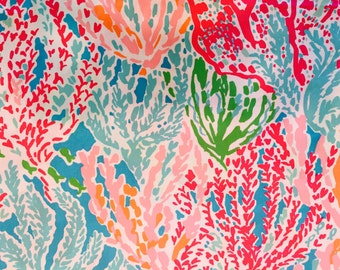 LETS CHA CHA Fabric 18x18 19x17 or 18x9 12x12 Lilly  2014 Coral 1 yard