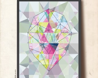 Geometric gemstone poster. Geometric print. Abstract wall art A3. Origami gem poster. Geometric art print. Modern home decor