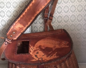 French weave antique fishing creel with beautiful hand tooled leather lid & straps