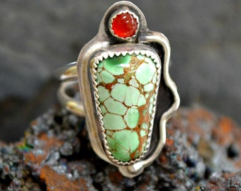 sterling silver variscite ring with carnelian.  size 6
