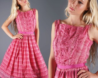 50s Pink Dress Lace Ruffle Dress Shades of Pink Sketchy Stripe Bow Waist Vintage Party Dress