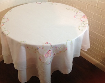 Vintage embroidered table cloth English tea garden Country cottage decor  Easter tablecloth Spring tablecloth