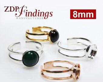 4pcs x Round 8mm Flat Bezel Setting Adjustable Ring, Choose Your Finish (R8RDV)