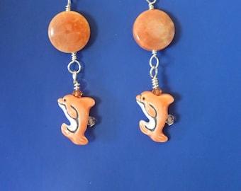 Orange Dolphin Agate Earrings