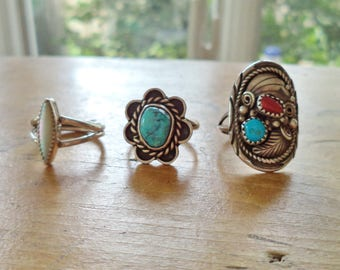 Vintage Southwestern Navajo Sterling Silver Turquoise Coral MOP Rings Priced Separately