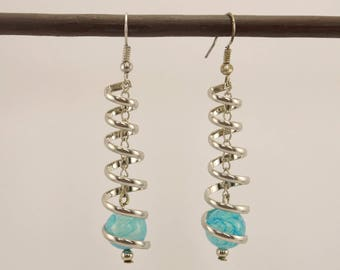 Swirl in silver and turquoise glass bead earrings
