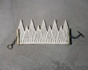 ivory cuff bracelet / lace cuff / TINY MOUNTAINS / geometric bracelet / gift for women / ivory and brass / modern bride jewelry