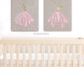 """Pink and Gold Ballerina Paintings 