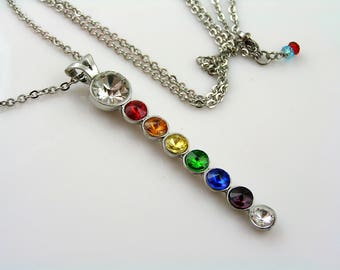 Chakra Necklace, Long Chakra Crystal Necklace, Chakra Colors Pendant, Stainless Steel, Chakra Jewelry, Inspirational Necklace, N1252