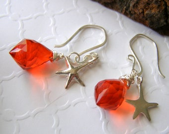 Quartz Starfish Earrings, Bright Orange Faceted Quartz, Sterling Silver Starfish and Ear Wires, Wire Wrapped Citrus Beach Vacation Jewelry