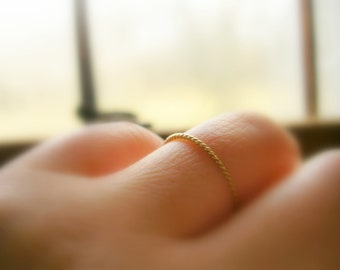 14K Gold 1mm Twisted Ring Dainty Gold Ring Wedding Band Stacking Ring - made to order in your finger size