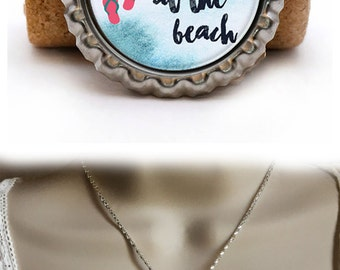 Life Is Better At The Beach Necklace, Nautical Beach Quote, Bottlecap Design, Nautical Necklace, Beachy Jewelry, Flip Flop Necklace, Summer