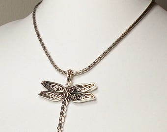 Dragonfly Statement Necklace, Silver Dragonfly Necklace, Bold Chain Necklace