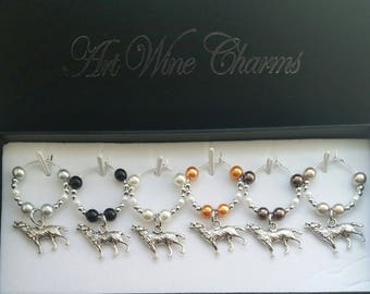 6 Wolf Wine Charms, Wolves, Themed Party, Party Favors, Gifts Under 20,  Wilderness, The Wild, Canid, Canidae, Thank you, Gift, Wolf Movie