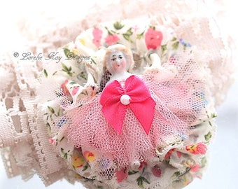 Blonde Frozen Charlotte Doll Brooch Girly  Doll Brooch Fabric Frilly Broach Lorelie Kay Original
